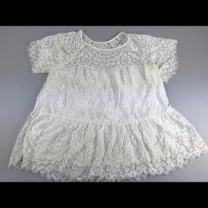Johnny Was Alisha White Tiered Lace Top Blouse S